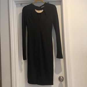 Halston Heritage black dress with gold collar